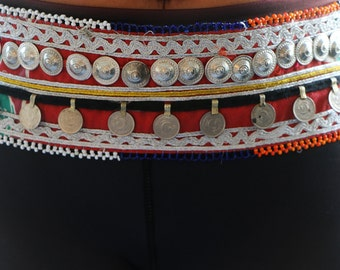 trible belt/tribal fusion belly dance belt/antiqe coin belt with embroidery/gypsy clothing/ATS/burlesque/dance cosutme/hippie clothing