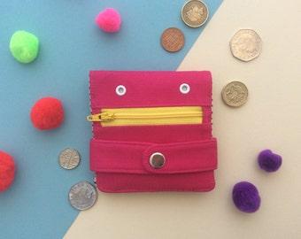 Pink Hug Monster Wallet, Coin purse, Handmade, silkscreen print