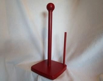Painted paper towel holder, upcycled paper towel holder, Red kitchen, primitive kitchen decor, modern kitchen, Retro, Red paper towel holder