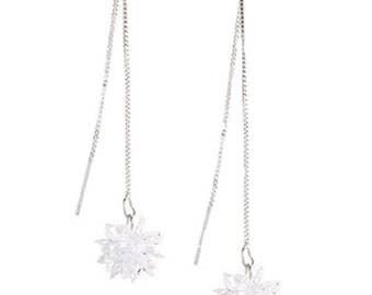 Glistening Clear Crystal Comet Thread Earrings