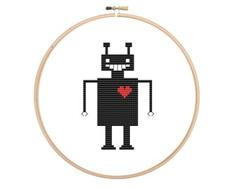 Robot in love modern cross stitch