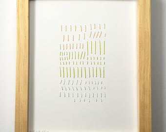 Hand Stitched Peach + Lime + Icy. Paper. Framed + Ready to Hang. One of a Kind Art Pieces.
