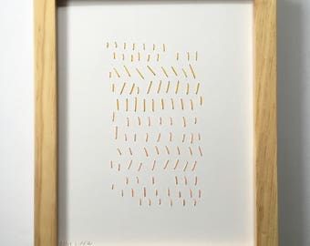 Hand Stitched Golds + Peach Dashes. Paper. Framed + Ready to Hang. One of a Kind Art Pieces.