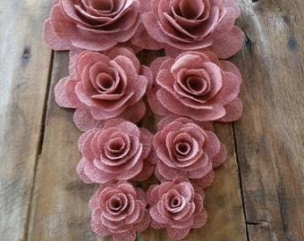 Burlap Rose, Blush Pink Flower, Cake Decorations