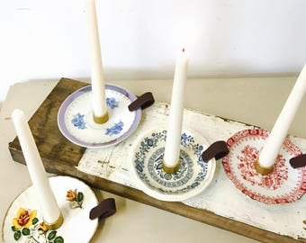 Antique candlestick Saucers. Recycling.