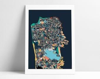 San Francisco Map, Travel Map, Map Art, Wall Art, Abstract Art, San Francisco Map Poster, San Francisco Map Print, San Francisco, San Fran