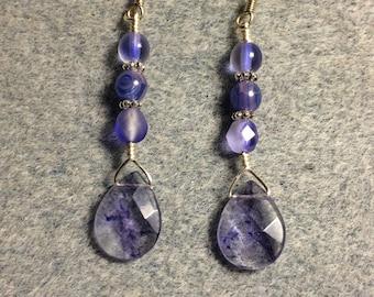 Blue purple mottled glass briolette dangle earrings adorned with blue purple Czech glass beads.