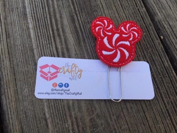 Peppermint swirl Mouse Inspired  Mouse Ears Clip/Planner Clip/Bookmark. Christmas planner clip