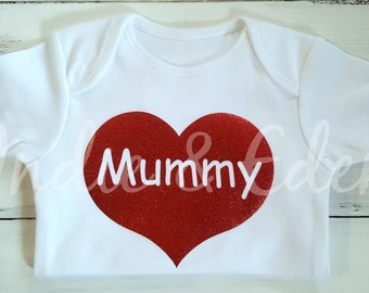 I Love Mummy Valentine Heart Baby Vest Red Glitter Personalised Baby Grow Babygrow Gift Photo Prop