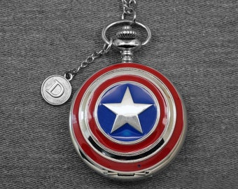 Captain America Pocket Watch Silver Large Pentagram Locket Watch Fob Super Hero Pocket Watch Pendant 47mm, for Gifts -P603