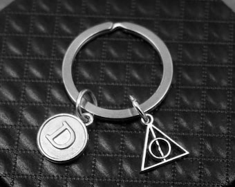 Harry Potter Key chain -Deathly Hollows Keychain -Initial Keychain -Your Choice of A to Z