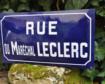 Street Sign blue Enamel Marechal Leclerc / Vintage French plate / Loft /Industrial decor / Chic Countryside