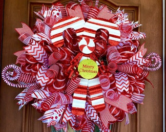 Clearance! Christmas Wreath, Candy Cane Wreath, Mesh Wreath, Christmas Wreath, Mesh Christmas Wreath Red and White Wreath