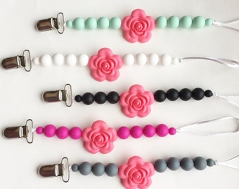 Baby Silicone Pacifier Clip, Flower Silicone Teether Clip, Silicone Beads, Rose Pacifier Clip, Paci Clip, Silicone Teether