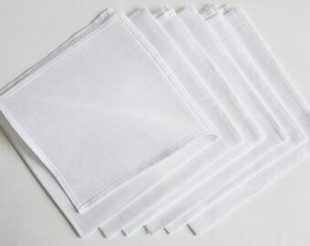 SALE White linen napkins, stonewashed linen napkins Washed large linen napkins / Set of 2, 4, 6, 8 or 12 washed handmade linen napkins