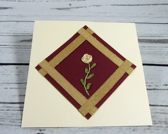 Hand embroidered card, blank card, card with envelope, embroidered rose, get well card, all occasion card, floral card
