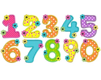Numbers Applique Design, Numbers 0-9 Machine Embroidery Design no: SA536