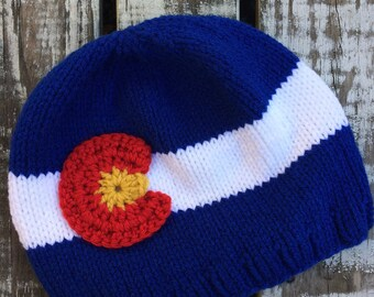 Colorado Knit Winter Hat with crocheted emblem, Blue - Made upon order