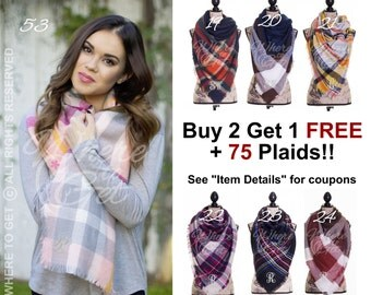 Blanket Scarf plaid, gifts for her, christmas, blanket scarf, blanket scarf monogram, tartan ...