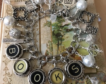 Book Love. Vintage Typewriter Key Charm Bracelet. Gift for Writers. Gift for Teaders.