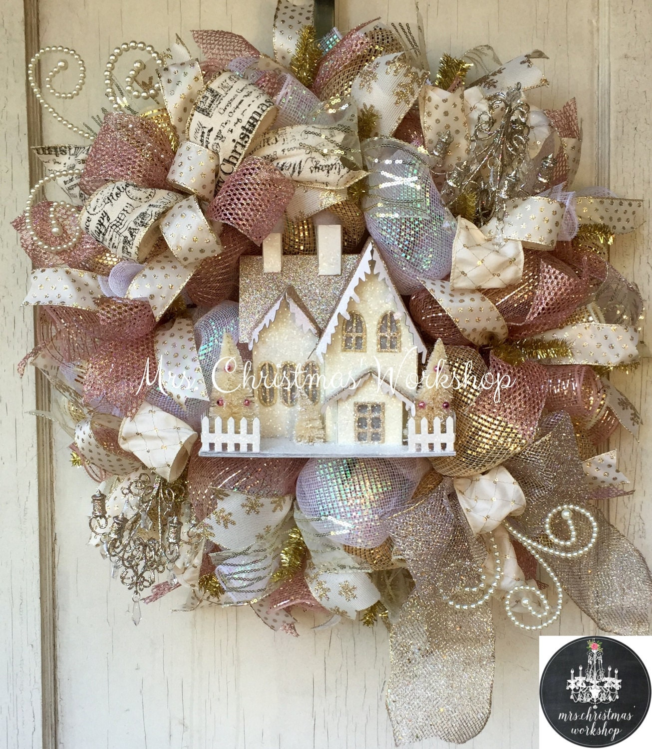 reserved shabby chic christmas wreath pink luxe wreath deco. Black Bedroom Furniture Sets. Home Design Ideas