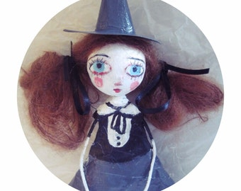 art doll, ooak doll, art doll, paper mach,witch, popsurrealism, bigeyes, sorcière, poupée