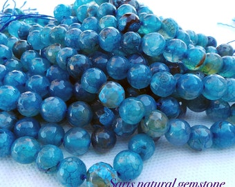 agate Faceted Natural Dark Turquoise beads round, 10 mm hole 1 mm