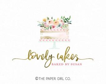 cake logo bakery logo baking logo bakers logo cake decorator logo premade logo wedding cake logo watercolor logo gold foil logo watermark