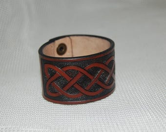 leather bracelet, celtic bracelet. handmade, hand carved.