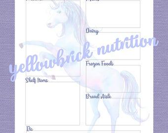 Rainbow Watercolor Unicorn Shopping List Planner, 8.5x11 PDF, Menu Planning, Instant Download