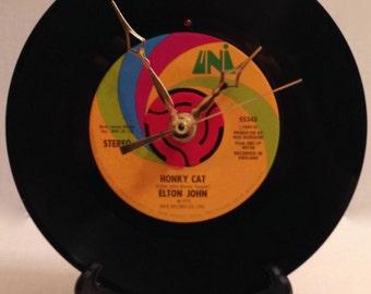 """Recycled ELTON JOHN 7"""" Record • Honky Cat • Record Clock"""
