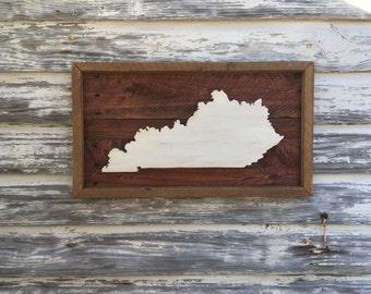 Wood State Cutout - Kentucky KY Wooden Cutout Wall Art Hanging Sign State Sign