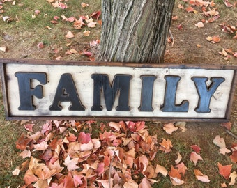 Large Primitive Framed FAMILY Wall Decor Sign
