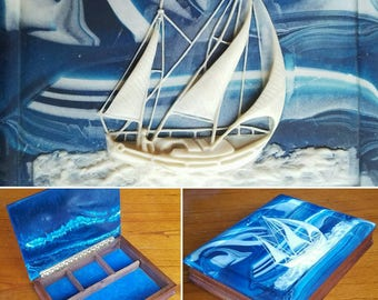 Stash Box, Sailboat Box, Storage, Dresser Box, Trinket Box, Treasure Box, Valet, Jewelry Box, Sloop, Yawl, Ketch, Sailing, Nautical Schooner