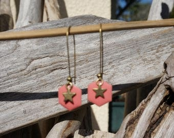 Earrings dangling, feather earrings, earrings, bronze earrings ears, long loops, coral balls, earrings star