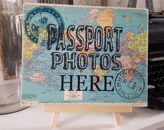 Travel theme wedding, wedding decor,  adventure themed bridal shower, baggage claim sign, travel themed party; photo booth prop; Passport