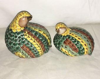 Vintage Toyo Hand Painted Quails Partridges Ceramic Birds Figurines Textured EUC