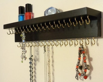 39 Jewelry Display Hooks - Necklace Shelf - Jewelry Organizer - Necklace Holder - Top Shelf - Satin Black -  More Colors - Hangers Installed