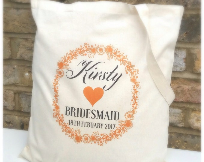 Personalised Tote Bag | Wedding bag | Hen do | Bride | Bridesmaid | Mother | Flower girl | Gift bag | Available in any colour.