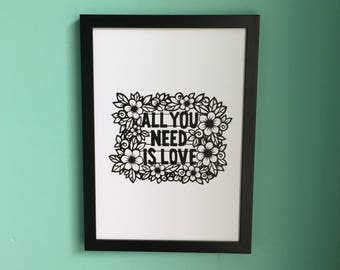 Inspirational Floral Beatles Digital Print A4 - All You Need Is Love