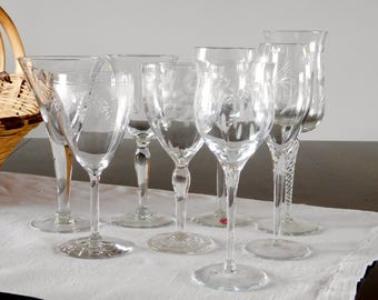 etched crystal wine glasses mismatched set of 8
