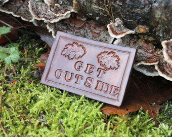 Get Outside Leather Patch for your Adventures, Bushcraft and Everyday by PNWBushcraft