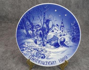 Bareuther Bavarian Porcelain Chirstmas Sleigh Ride Weihnachten Plate 1989