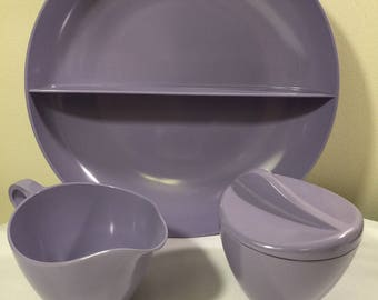 Lavender Melmac Royalon Inc serving pieces - made in usa - Melmac - sugar and creamer - divided dish - lavender Royalon melmac - mid century