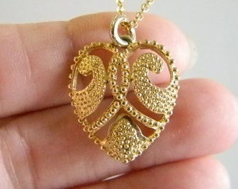 Gold Tone Textured Heart Pendant with Chain Necklace
