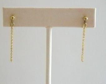Gold Tone Dangle Chain Pierced Earrings