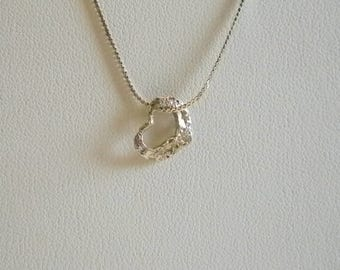 Sterling 925 Chain 7 Open Heart Pendant Necklace