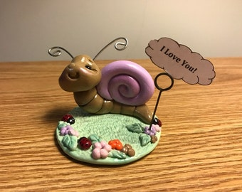 Sweet snail with memo pin for a message, handmade ornament with polymer clay