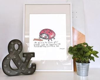 Ladybird/Ladybug Cartoon Art Print - Unframed Giclee Print of Hand Drawn Illustration