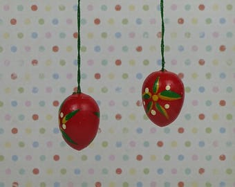 Vintage Easter egg ornaments 1970s wooden red